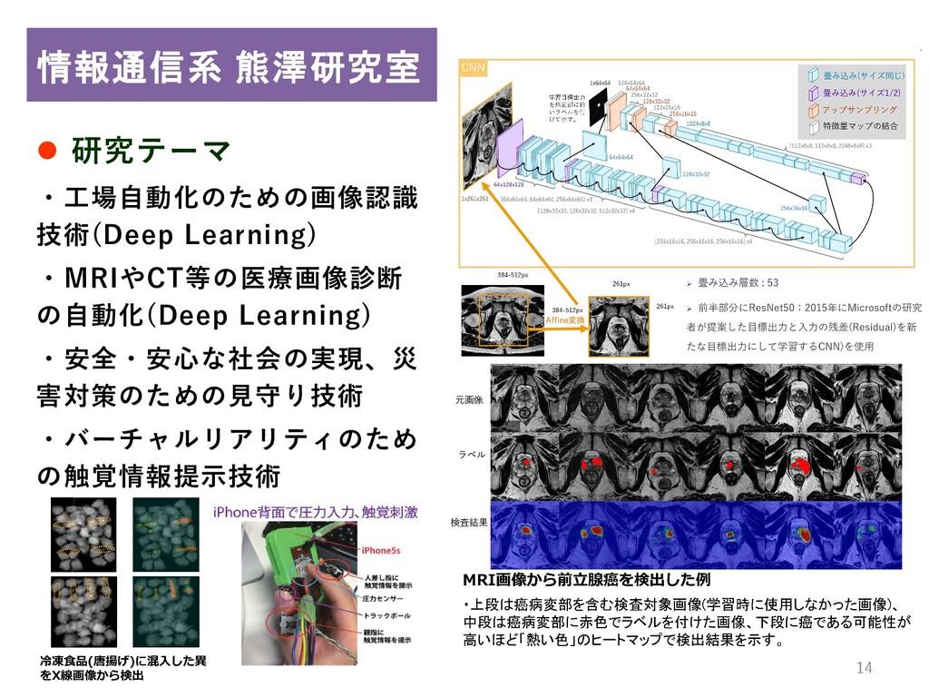 14 14  研究テーマ ・工場自動化のための画像認識 技術(Deep Learning) ...