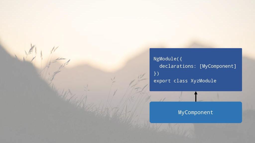 NgModule({ declarations: [MyComponent] }) expor...