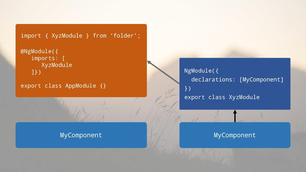 MyComponent import { XyzModule } from 'folder';...