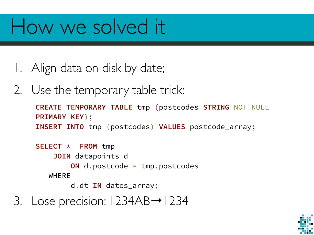 How we solved it 1. Align data on disk by date;...