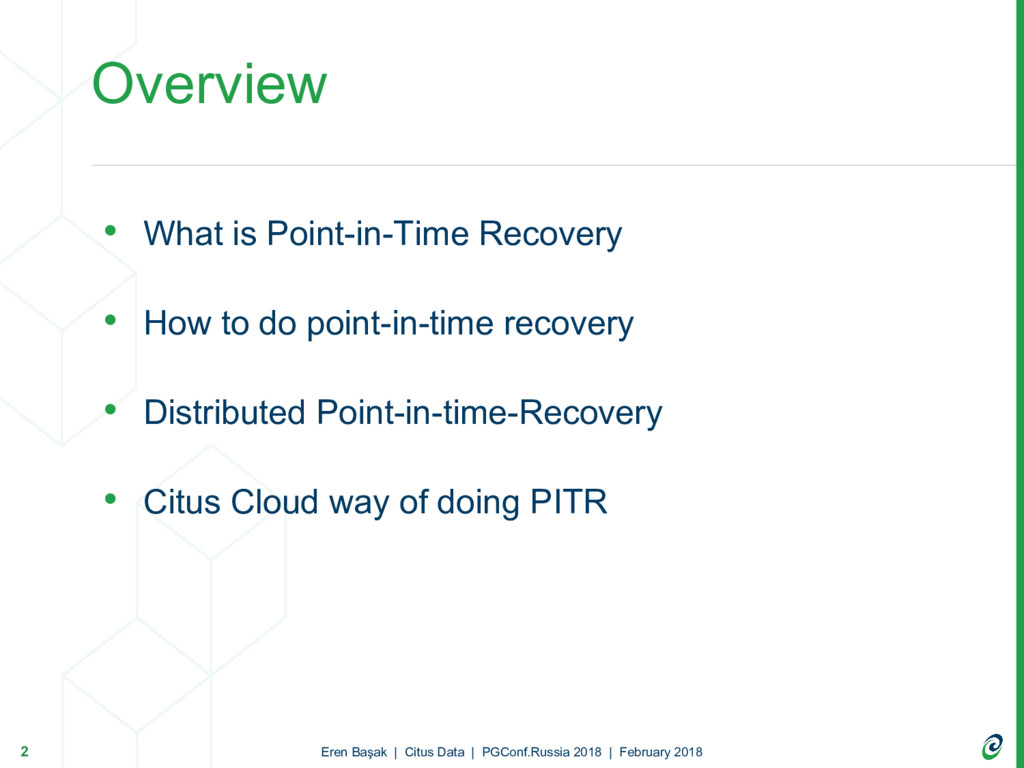 • What is Point-in-Time Recovery • How to do po...