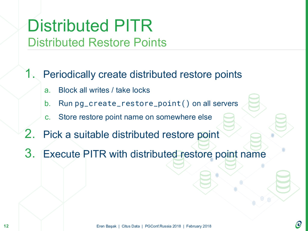 1. Periodically create distributed restore poin...