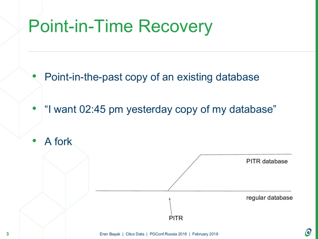 • Point-in-the-past copy of an existing databas...