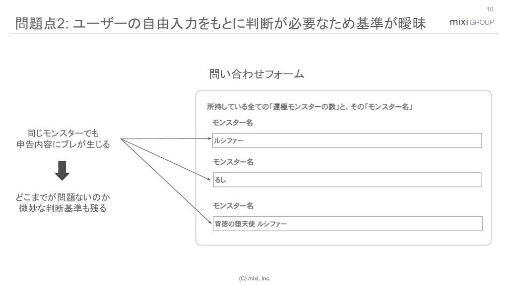 (C) mixi, Inc. 10 問題点2: ユーザーの自由入力をもとに判断が必要なため基準...