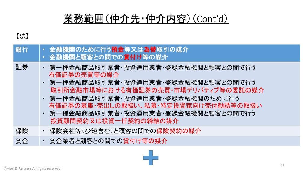 業務範囲(仲介先・仲介内容)(Cont'd) 【法】 銀行 ・ 金融機関のために行う預金等又は...