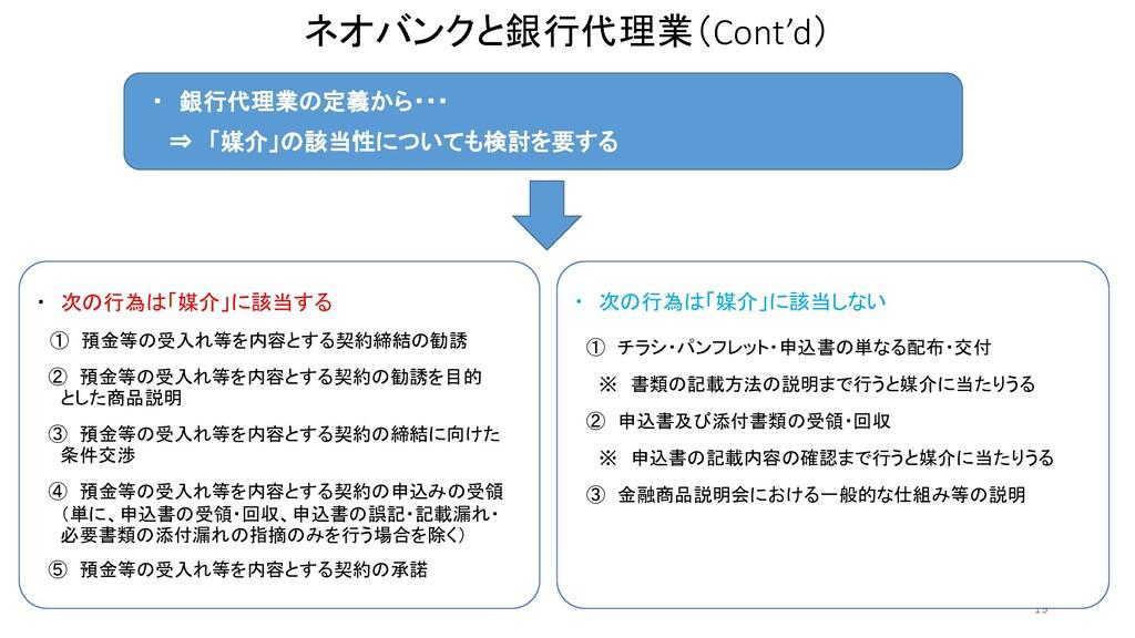 ネオバンクと銀行代理業(Cont'd) 19 ・ 銀行代理業の定義から・・・ ⇒ 「媒介」の該...