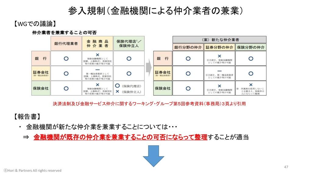 参入規制(金融機関による仲介業者の兼業) 【WGでの議論】 ⓒHori & Partners ...