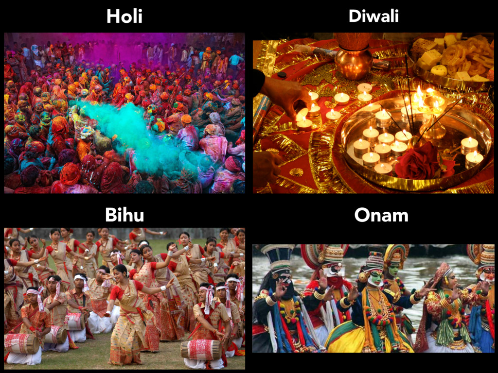 Holi Onam Bihu Diwali