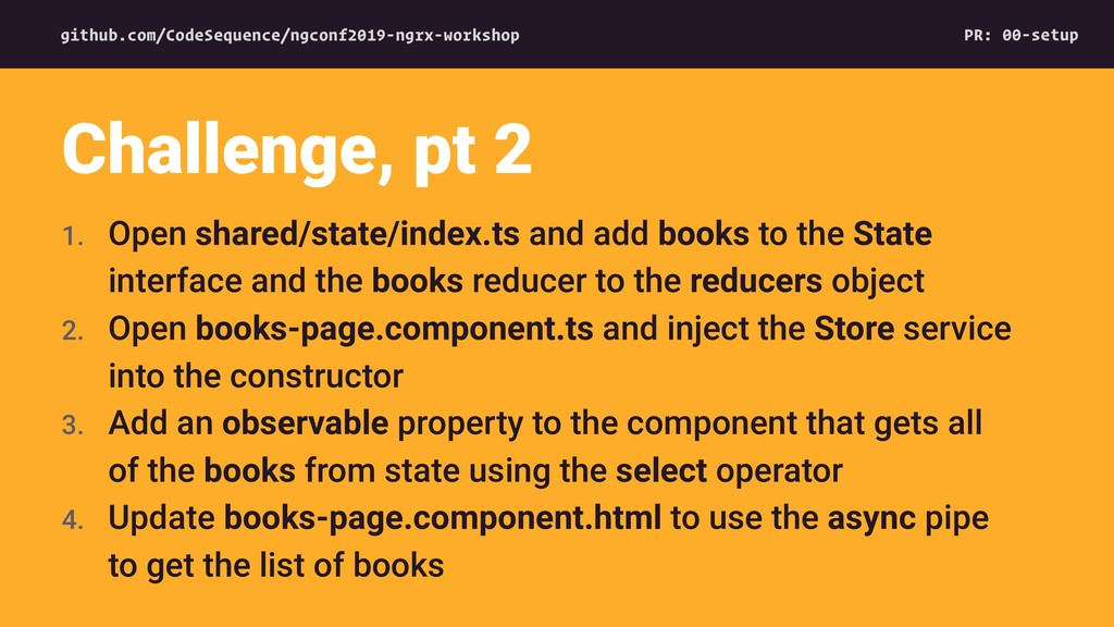 1. Open shared/state/index.ts and add books to ...