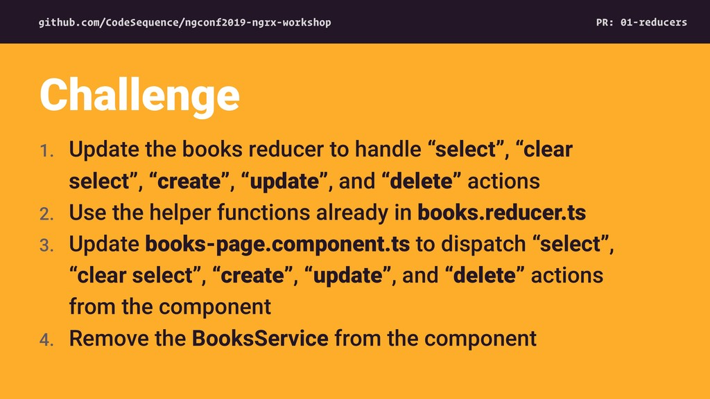 """1. Update the books reducer to handle """"select"""",..."""