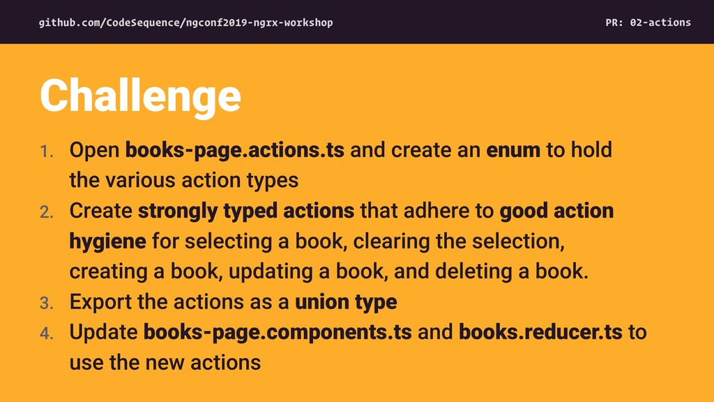 1. Open books-page.actions.ts and create an enu...