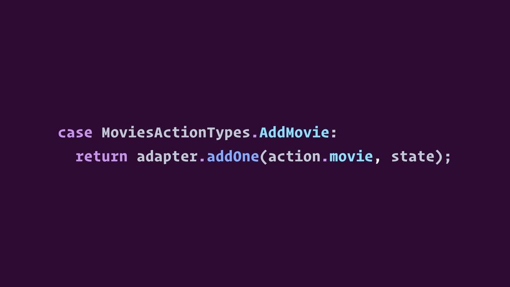 case MoviesActionTypes.AddMovie: return adapter...