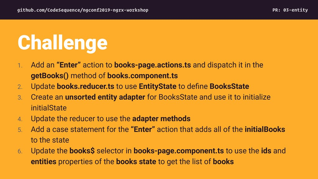 """1. Add an """"Enter"""" action to books-page.actions...."""