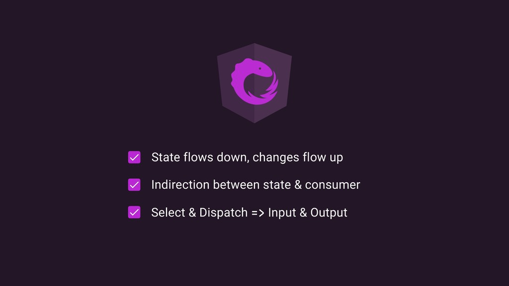 State flows down, changes flow up Indirection b...