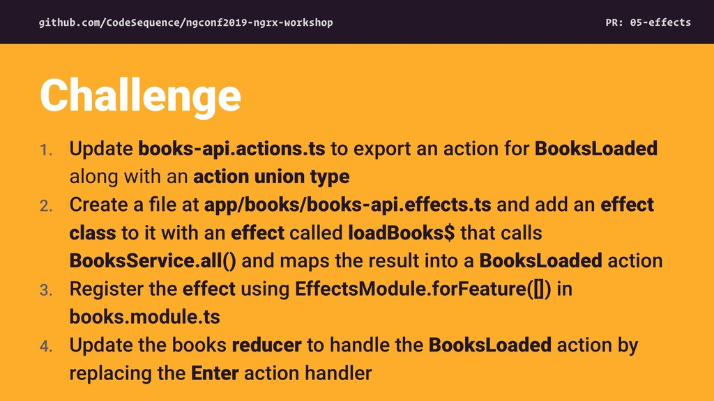 1. Update books-api.actions.ts to export an act...