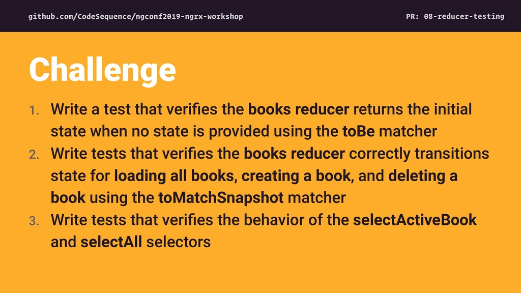 1. Write a test that verifies the books reducer ...