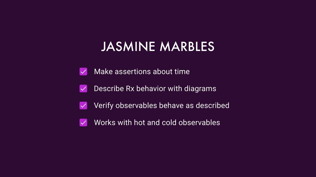 Make assertions about time Describe Rx behavior...