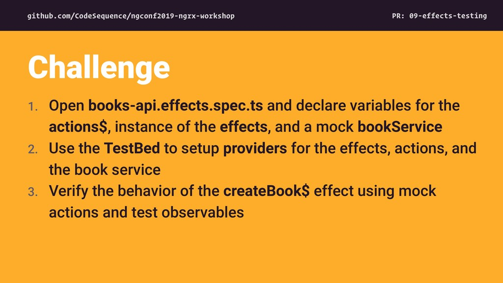 1. Open books-api.effects.spec.ts and declare v...