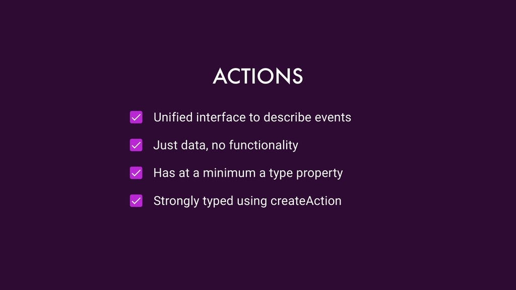 Unified interface to describe events Just data,...