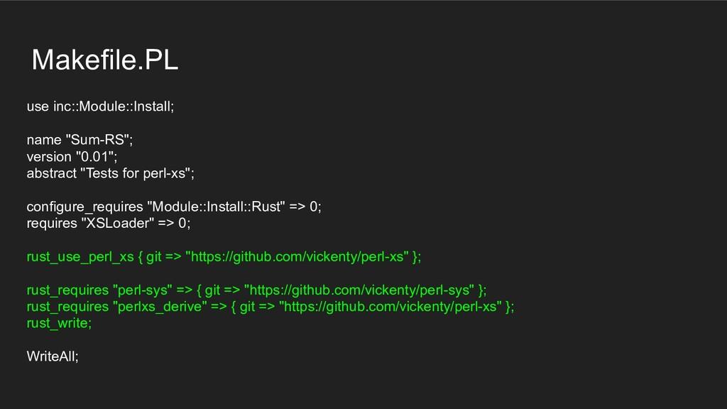 "Makefile.PL use inc::Module::Install; name ""Sum..."
