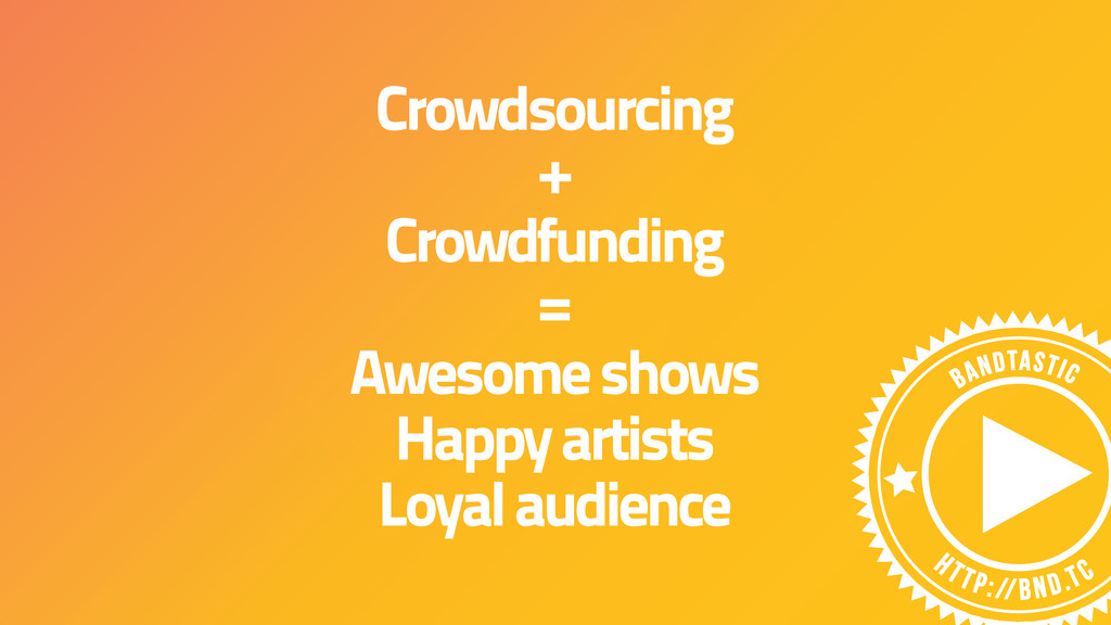 Crowdsourcing + Crowdfunding = Awesome shows Ha...