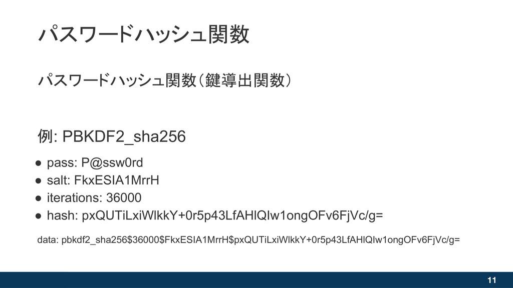 11 パスワードハッシュ関数(鍵導出関数) 例: PBKDF2_sha256 ● pass: ...