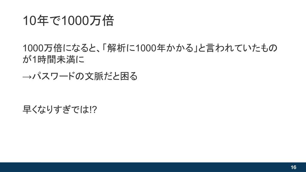16 1000万倍になると、「解析に1000年かかる」と言われていたもの が1時間未満に →パ...