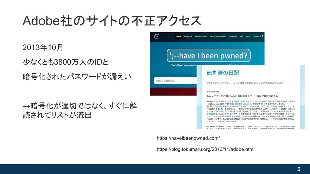 Adobe社のサイトの不正アクセス 5 2013年10月 少なくとも3800万人のIDと 暗号...