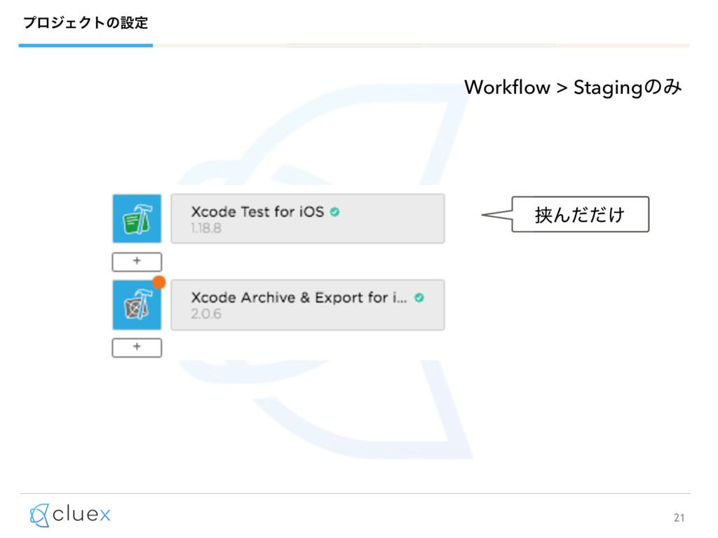 21 ϓϩδΣΫτͷઃఆ Workflow > StagingͷΈ ڬΜ͚ͩͩ