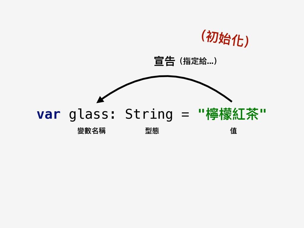 "var glass: String = ""檸檬紅茶茶"" 變數名稱 型態 值 宣告(指定給......"