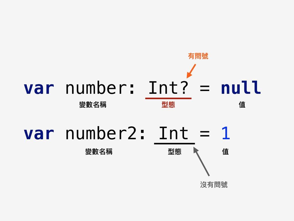 var number: Int? = null var number2: Int = 1 變數...
