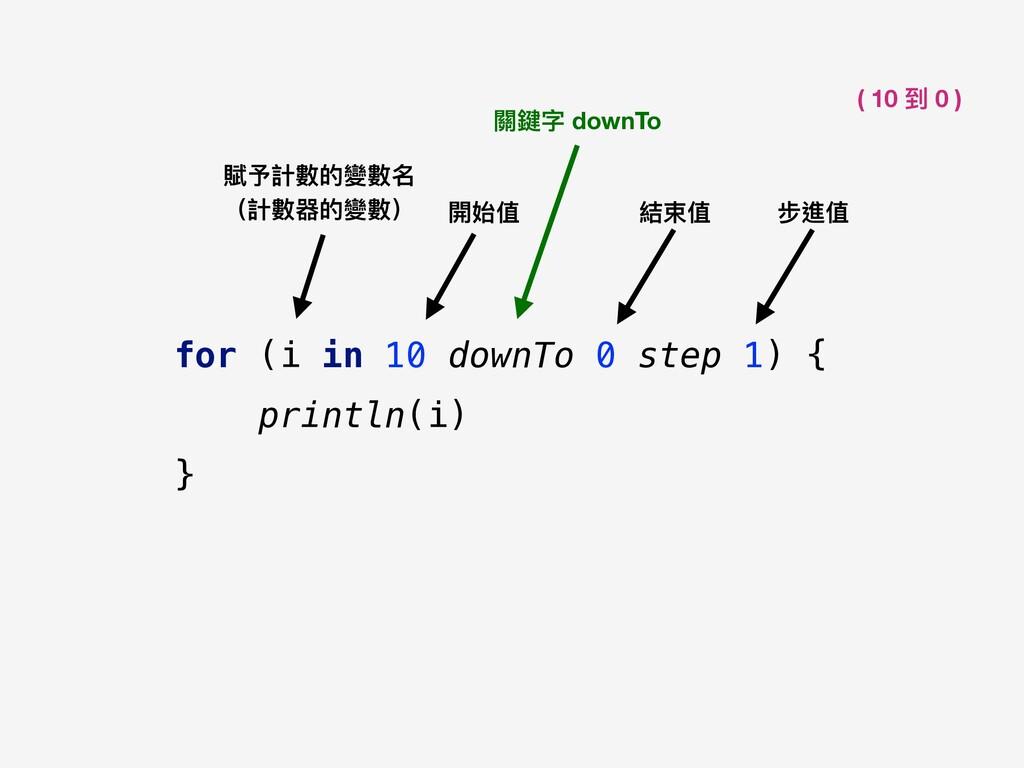開始值 結束值 關鍵字 downTo 賦予計數的變數名 (計數器的變數) for (i in...