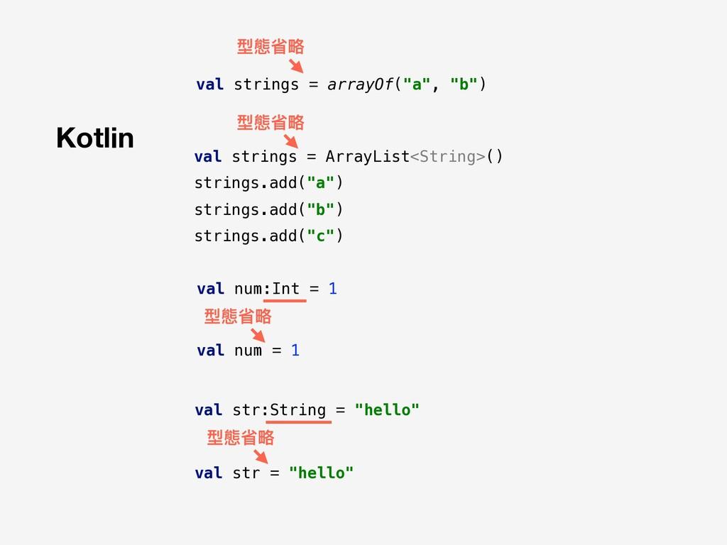 """Kotlin 型態省略略 val strings = arrayOf(""""a"""", """"b"""") va..."""