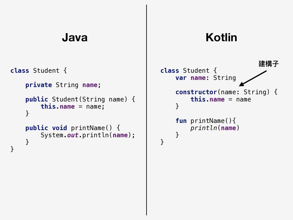 Java Kotlin class Student { private String name...