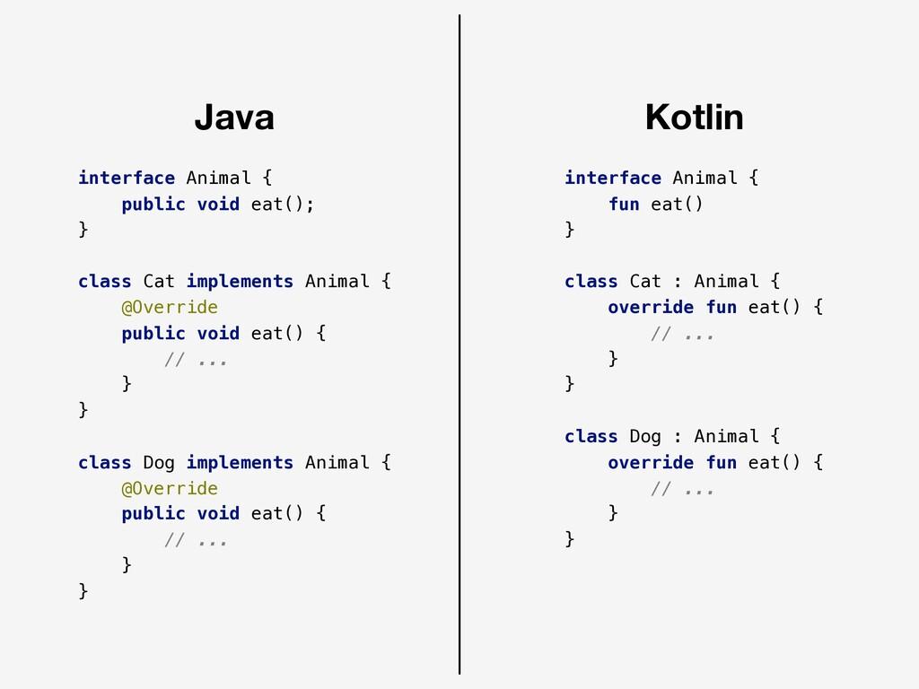 Java Kotlin interface Animal { public void eat(...