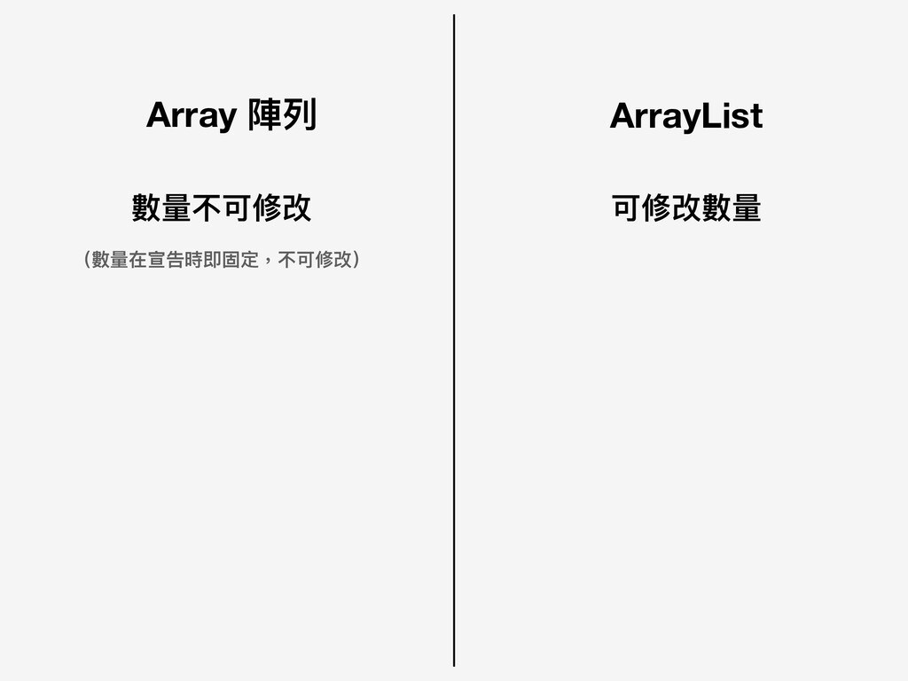 Array 陣列列 ArrayList 可修改數量量 數量量不可修改 (數量量在宣告時即固定,...