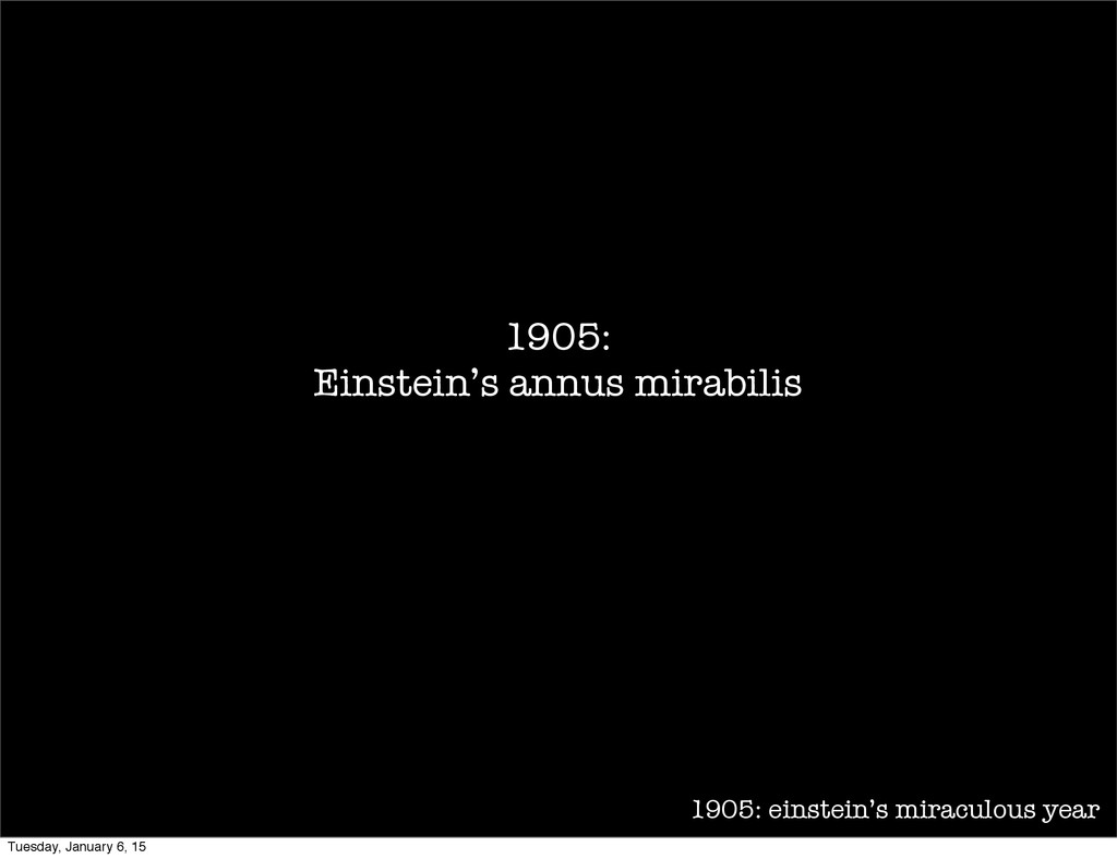 1905: einstein's miraculous year 1905: Einstein...