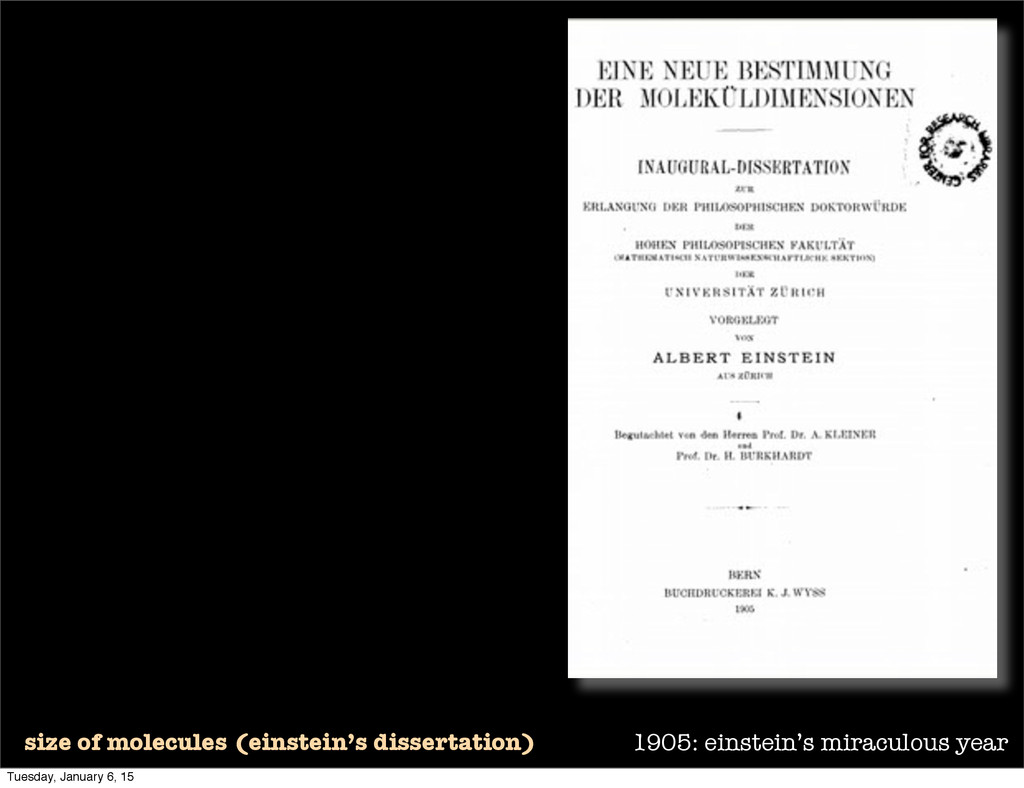 1905: einstein's miraculous year size of molecu...