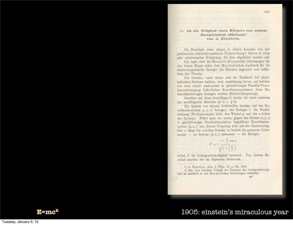 1905: einstein's miraculous year E=mc2 Tuesday,...