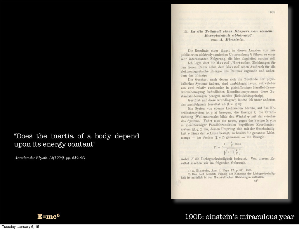 "1905: einstein's miraculous year E=mc2 ""Does th..."