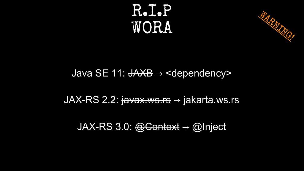 R.I.P WORA Java SE 11: JAXB → <dependency> JAX-...