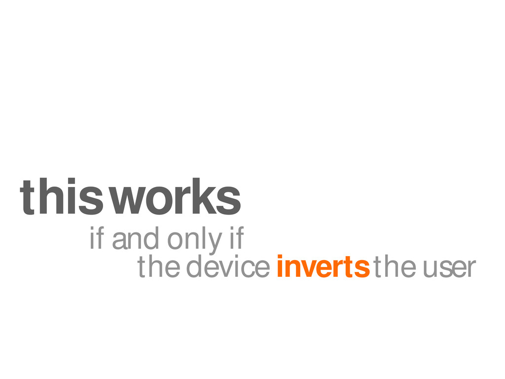 if and only if the device inverts the user this...