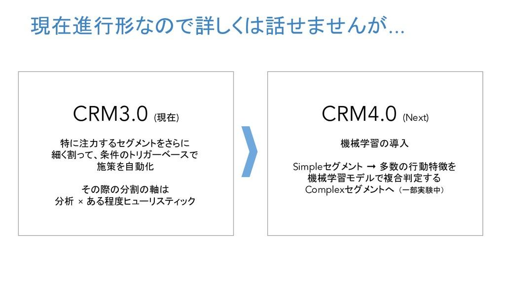 現在進行形なので詳しくは話せませんが... CRM3.0 (現在) 特に注力するセグメントをさ...