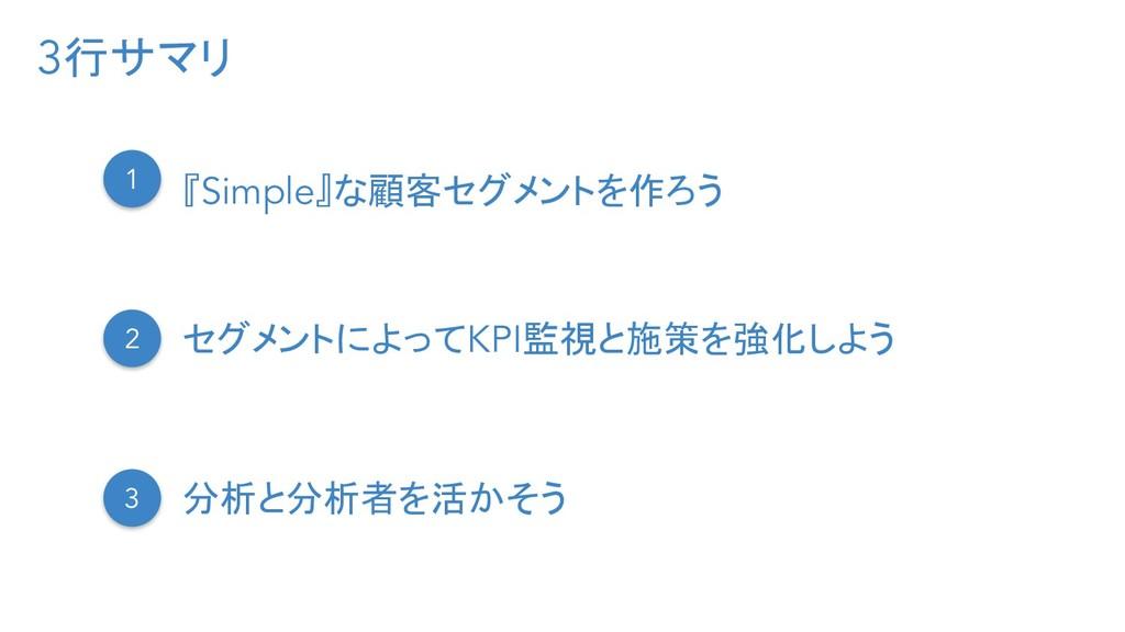 3行サマリ 1 『Simple』な顧客セグメントを作ろう 2 セグメントによってKPI監視と施...