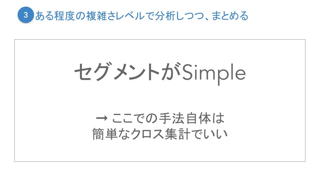 セグメントがSimple ➞ ここでの手法自体は 簡単なクロス集計でいい ある程度の複雑さレベ...