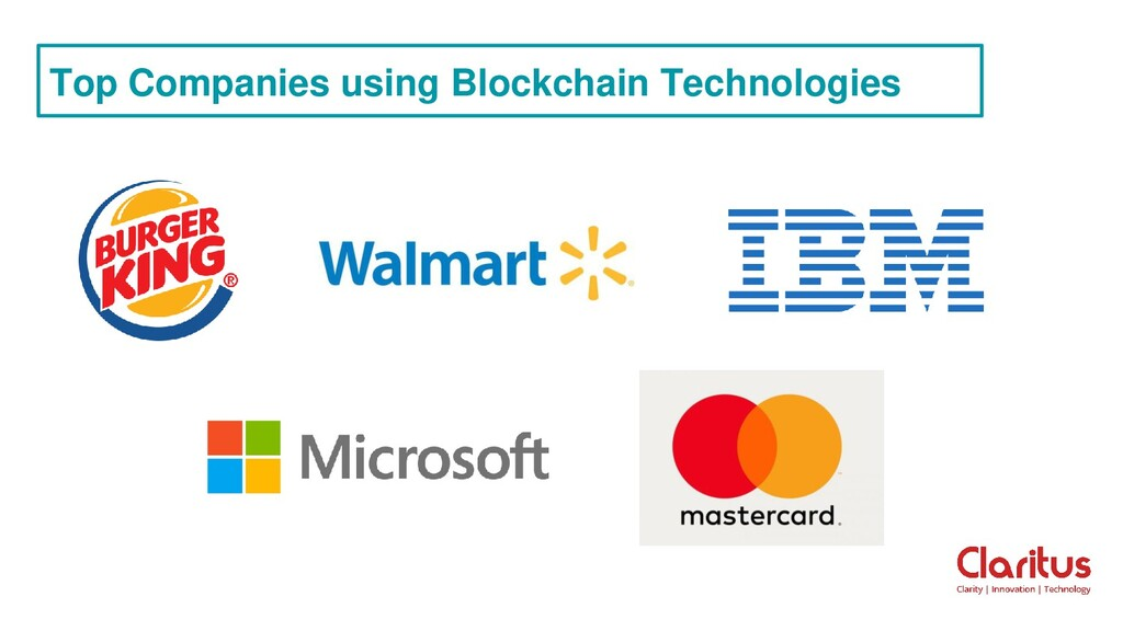 Top Companies using Blockchain Technologies