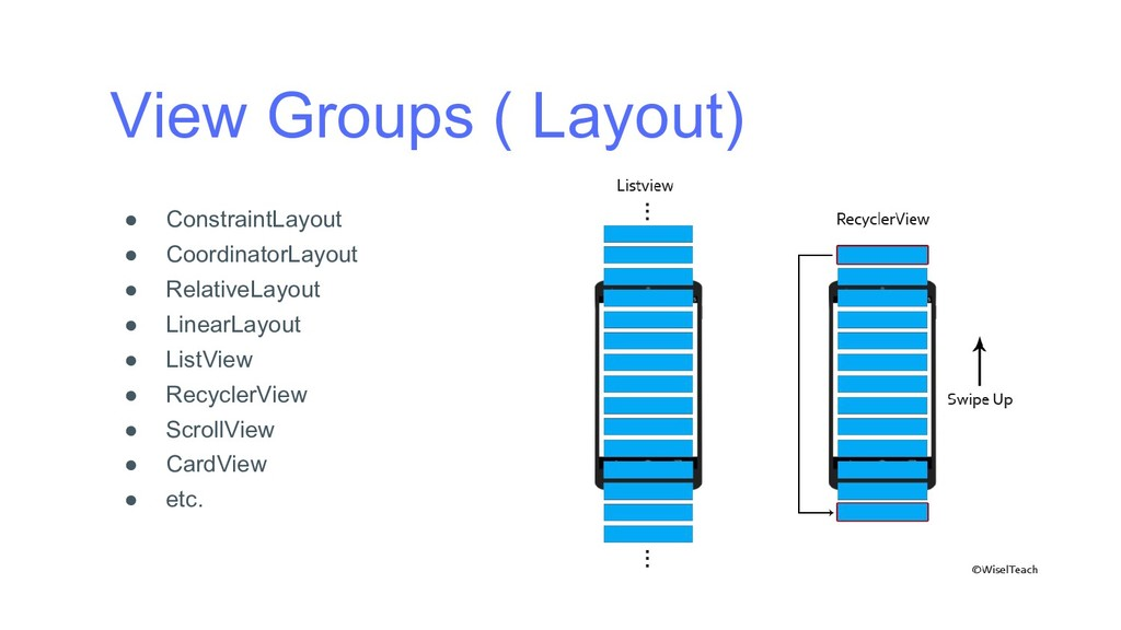 View Groups ( Layout) ● ConstraintLayout ● Coor...