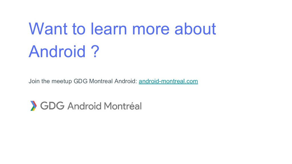 Want to learn more about Android ? Join the mee...