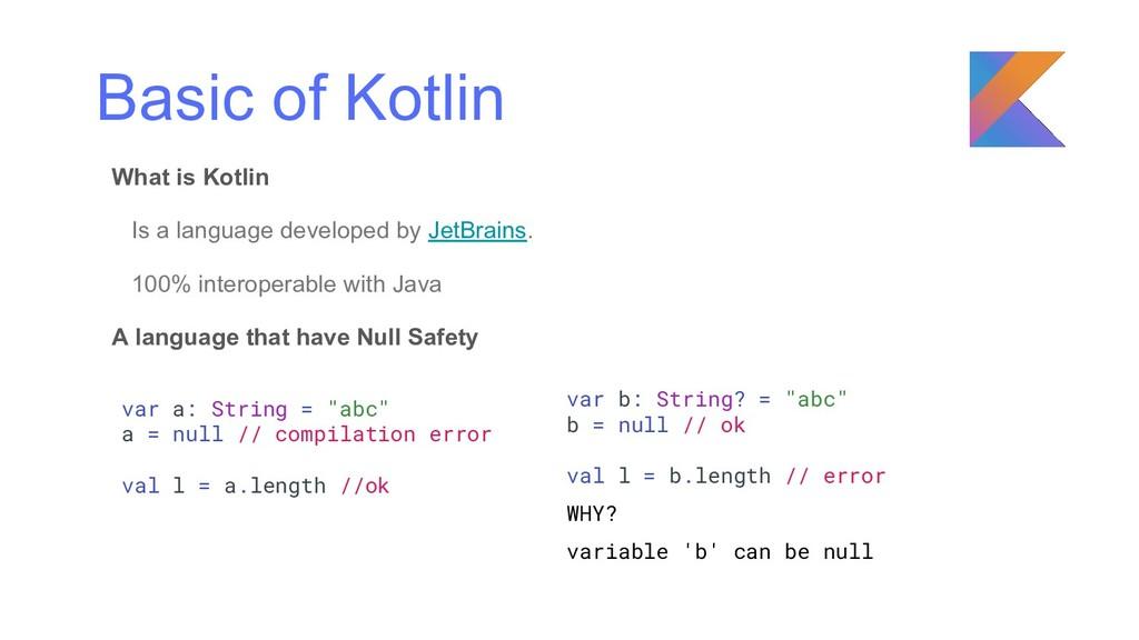Basic of Kotlin What is Kotlin Is a language de...