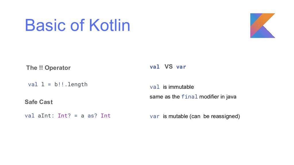 Basic of Kotlin The !! Operator val l = b!!.len...